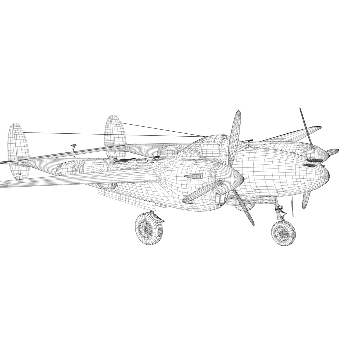 lockheed p-38 lightning – florida cracker 3d model fbx c4d lwo obj 279433