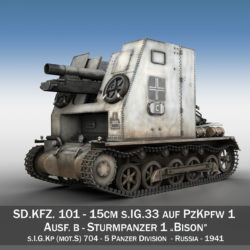 Sturmpanzer1 - Bison - 5PzDiv 3d model high poly virtual reality