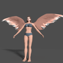 Angel with Wings 3d model high poly blend
