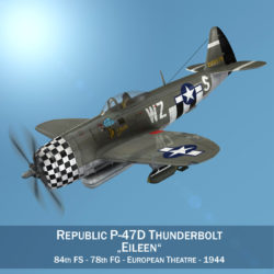 Republic P-47D Thunderbolt - Eileen 3d model virtual reality