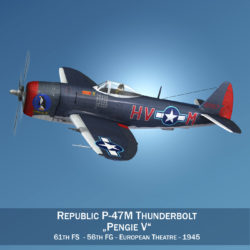 Republic P-47M Thunderbolt - Pengie V 3d model virtual reality