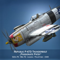 Republic P-47 Thunderbolt - Passionate Patsy 3d model virtual reality