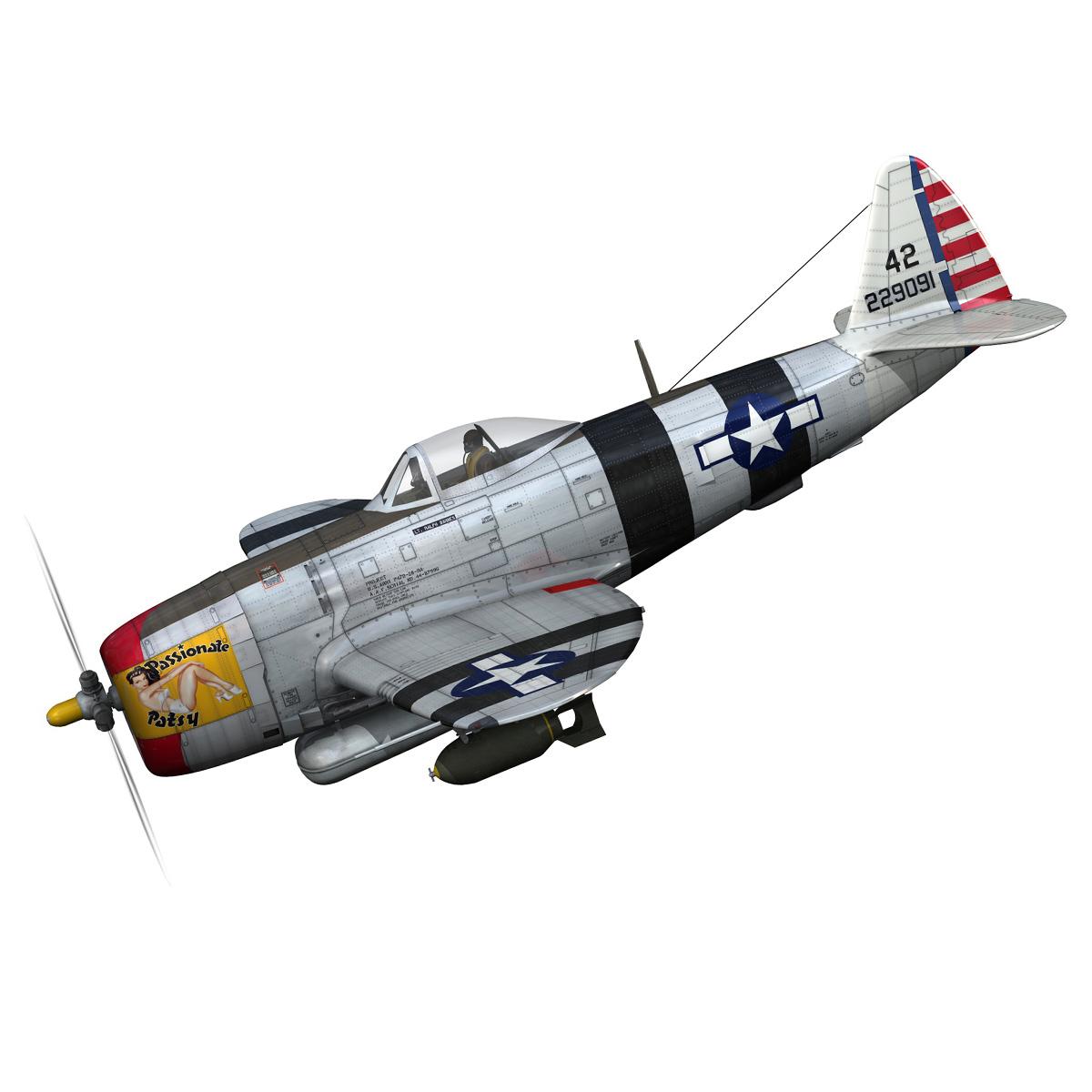 republic p-47 thunderbolt – passionate patsy 3d model fbx lwo lw lws obj c4d 279741