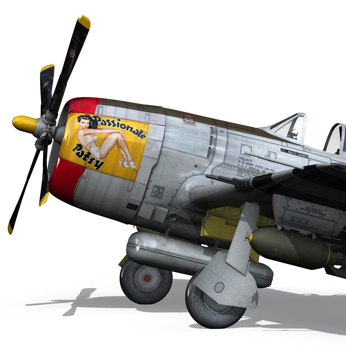 republic p-47 thunderbolt – passionate patsy 3d model fbx lwo lw lws obj c4d 279748