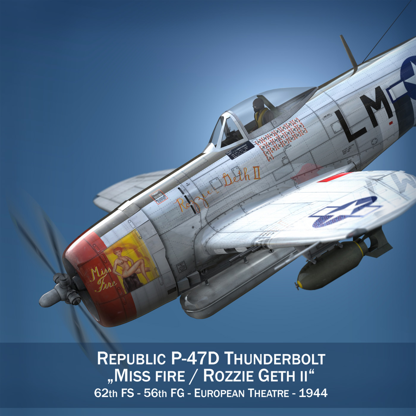 Republic P-47D Thunderbolt - Rozzie Geth II 3d model  279768