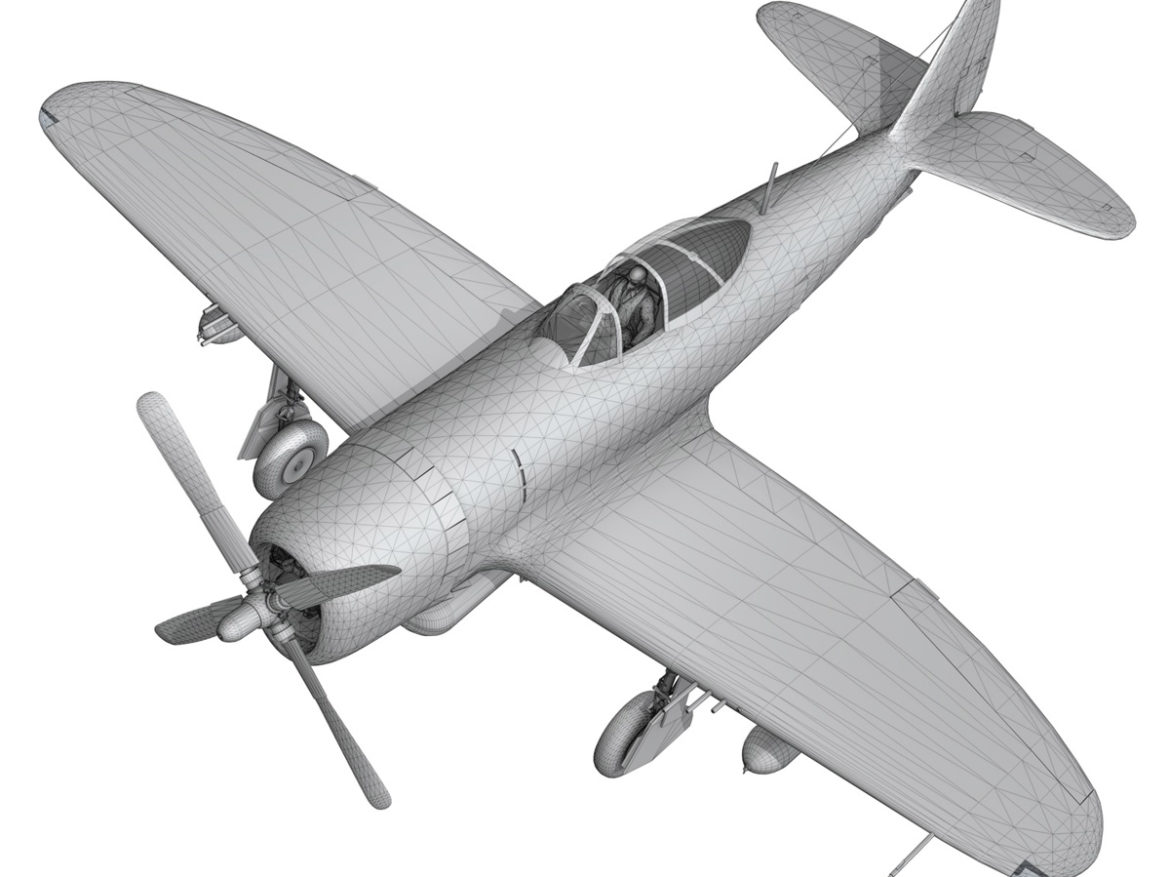 Republic P-47D Thunderbolt - Rozzie Geth II 3d model virtual reality