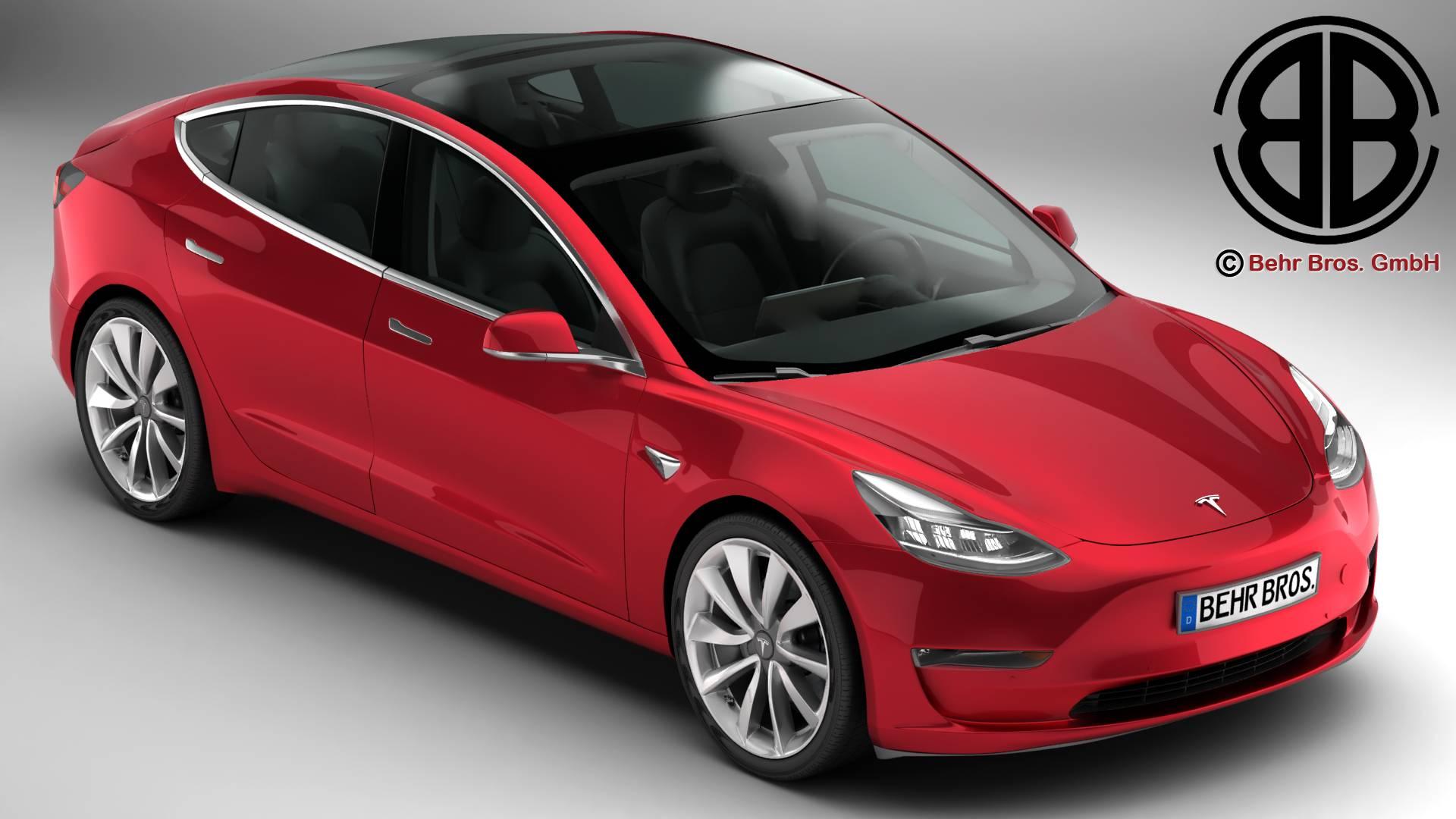 Tesla Model 3 2018 3d model 3ds max fbx c4d lwo lws lw ma mb obj 279813