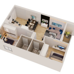 Cutaway apartment full furnitures modern design 3d model high poly max