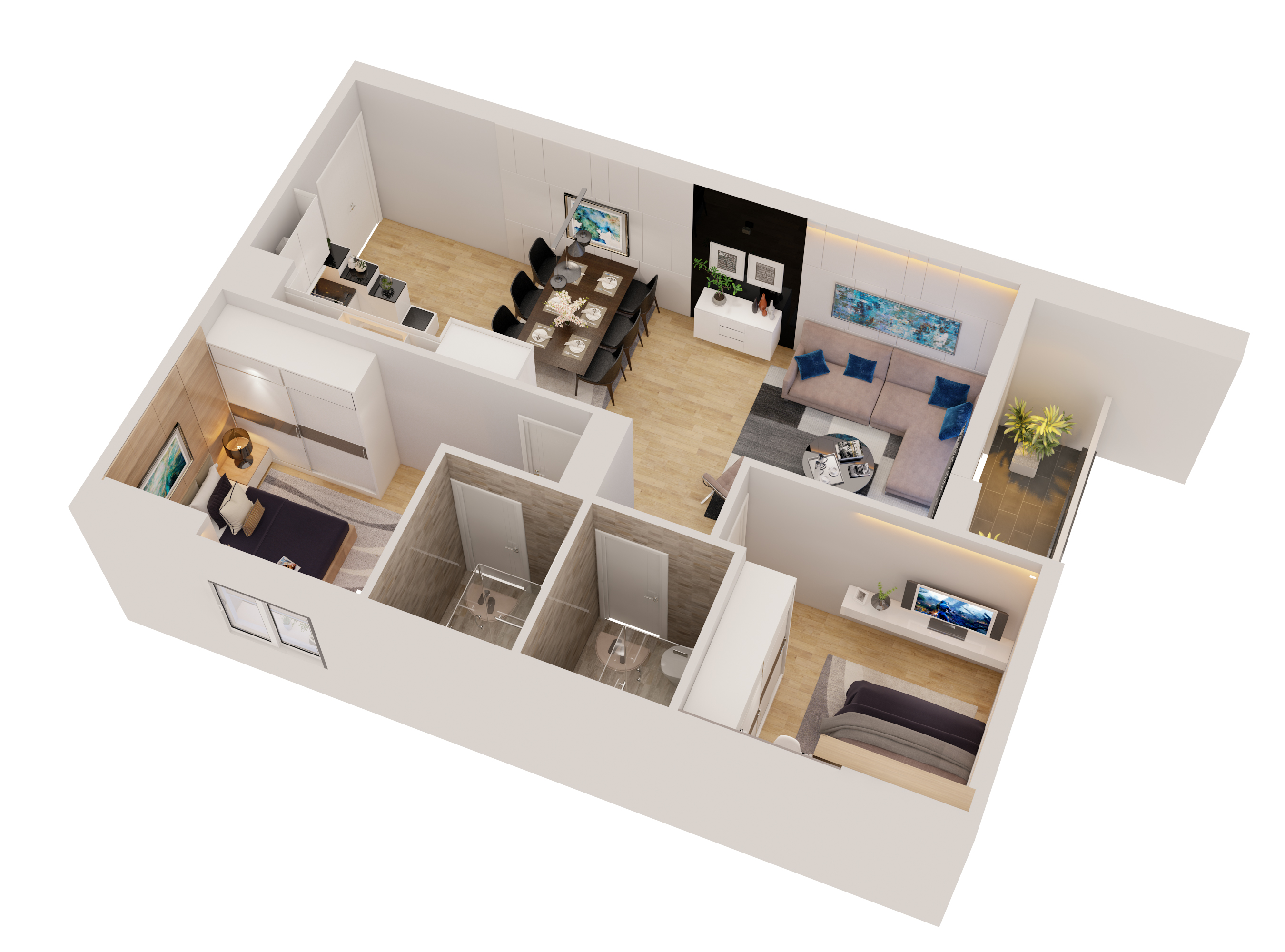 Cutaway apartment full furnitures modern design