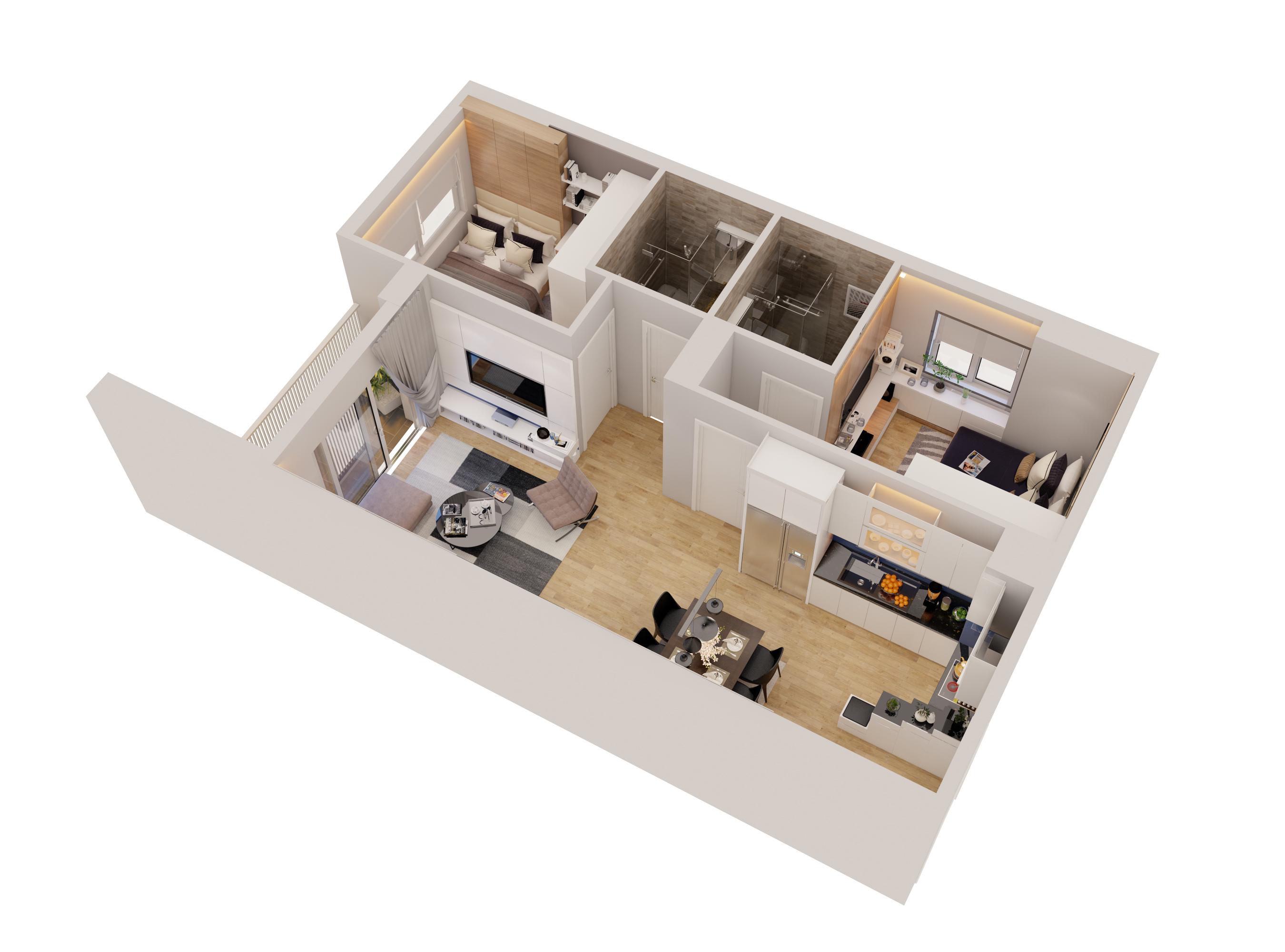 Cutaway apartment full furnitures modern design 3d model max 279955