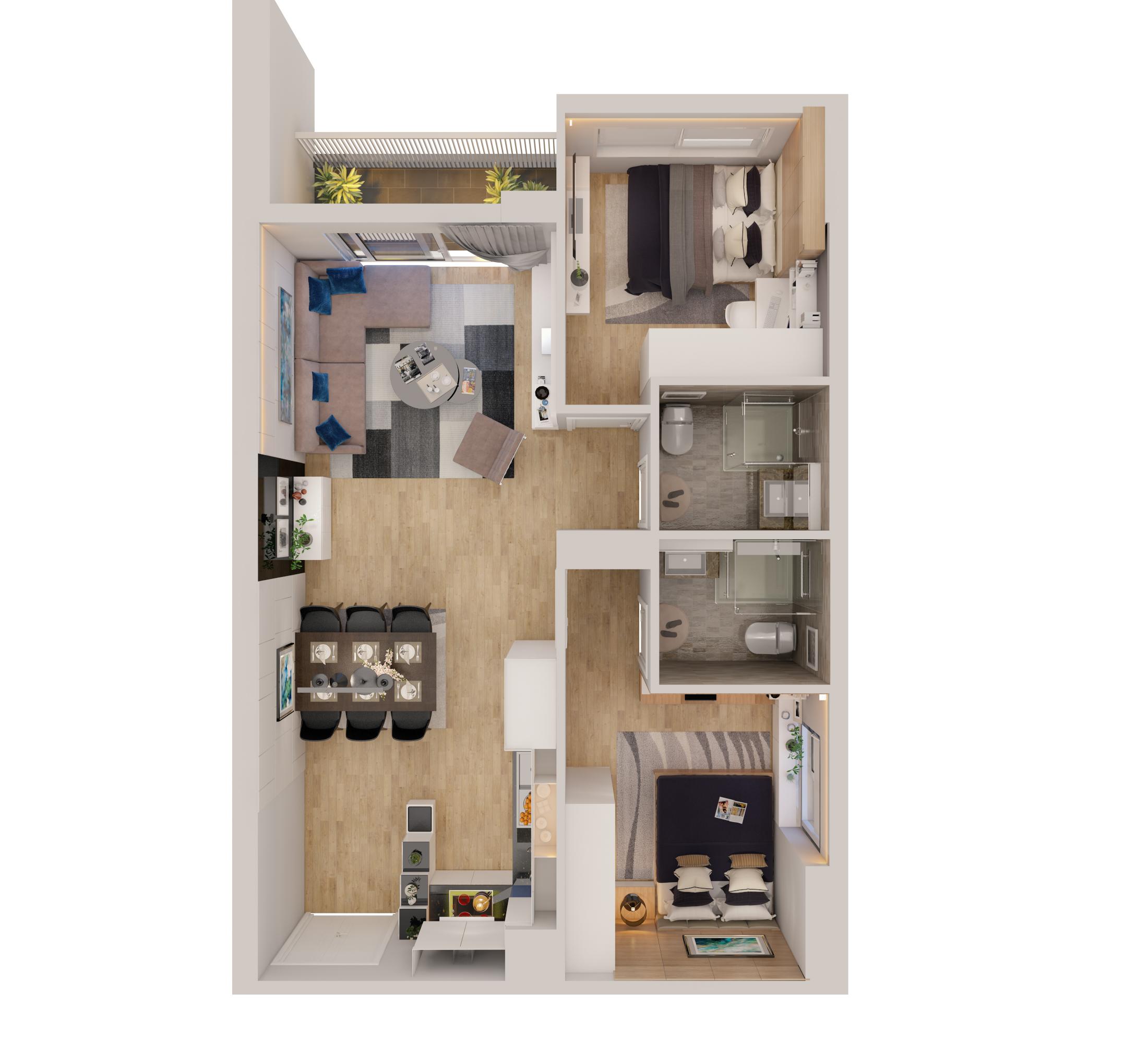 cutaway apartment full furnitures modern design 3d model max 279956