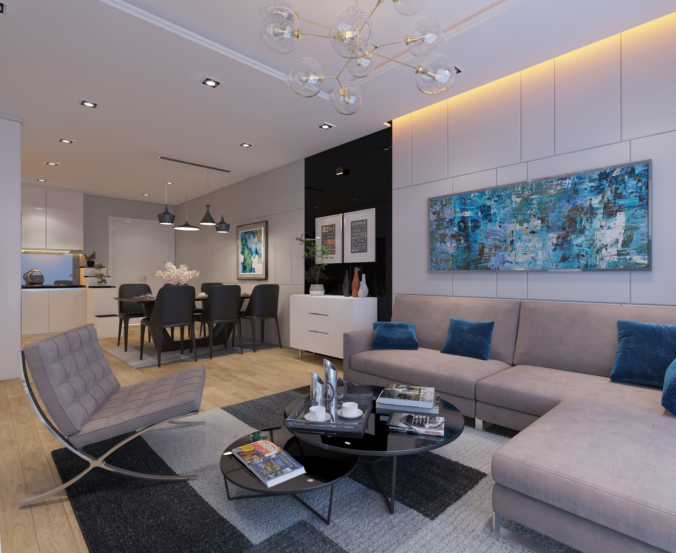Cutaway apartment full furnitures modern design 3d model max 279957