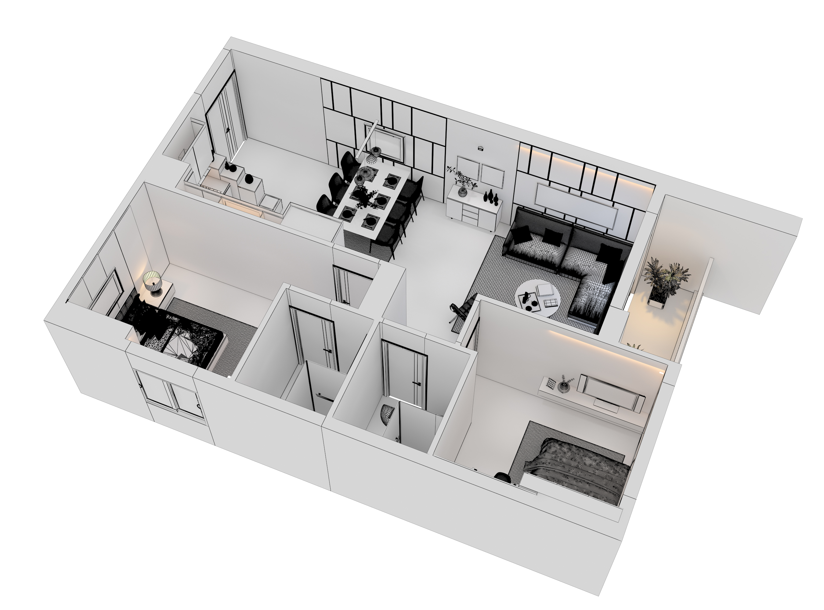 Cutaway apartment full furnitures modern design 3d model max 279964