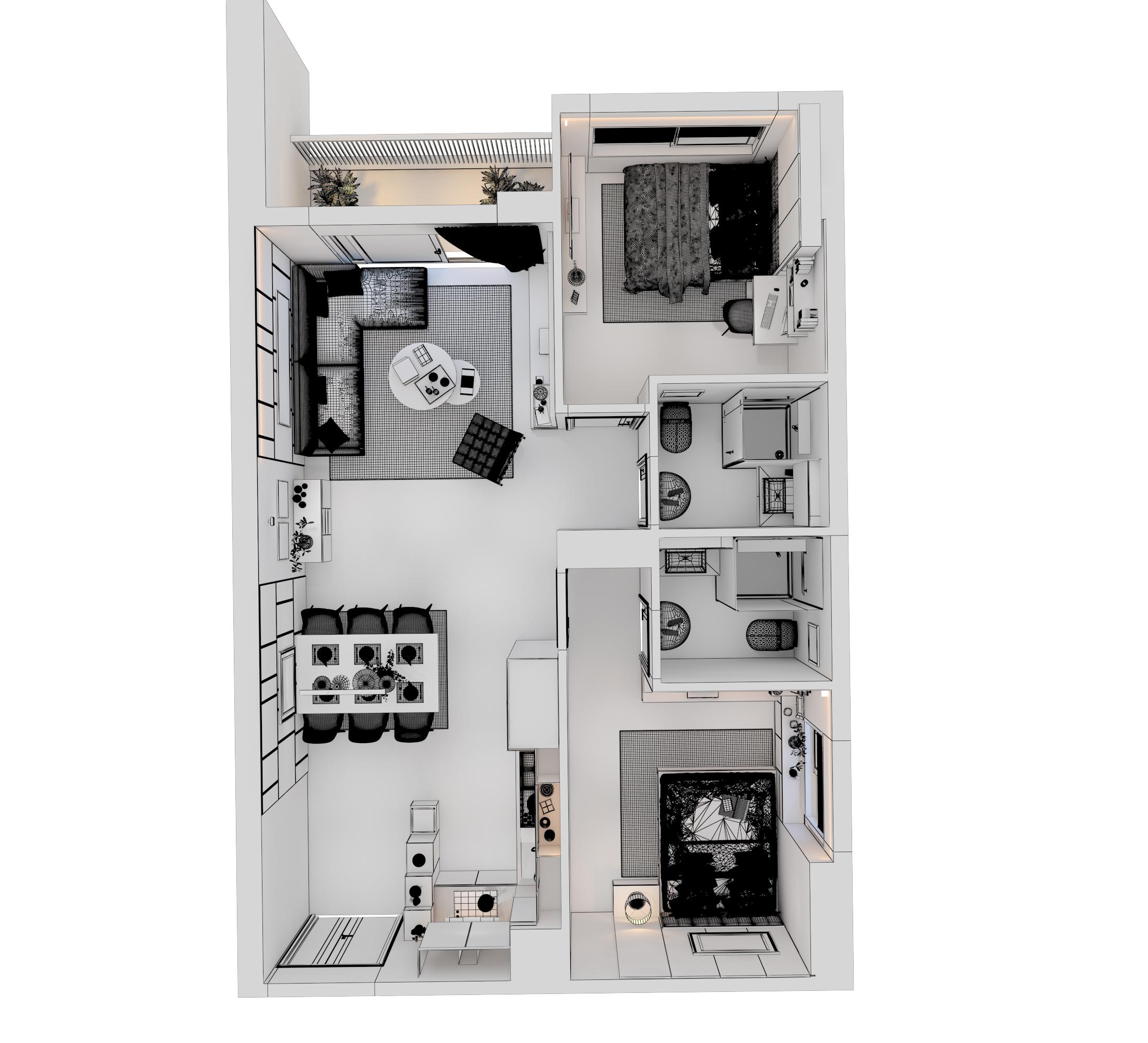 Cutaway apartment full furnitures modern design 3d model max 279965
