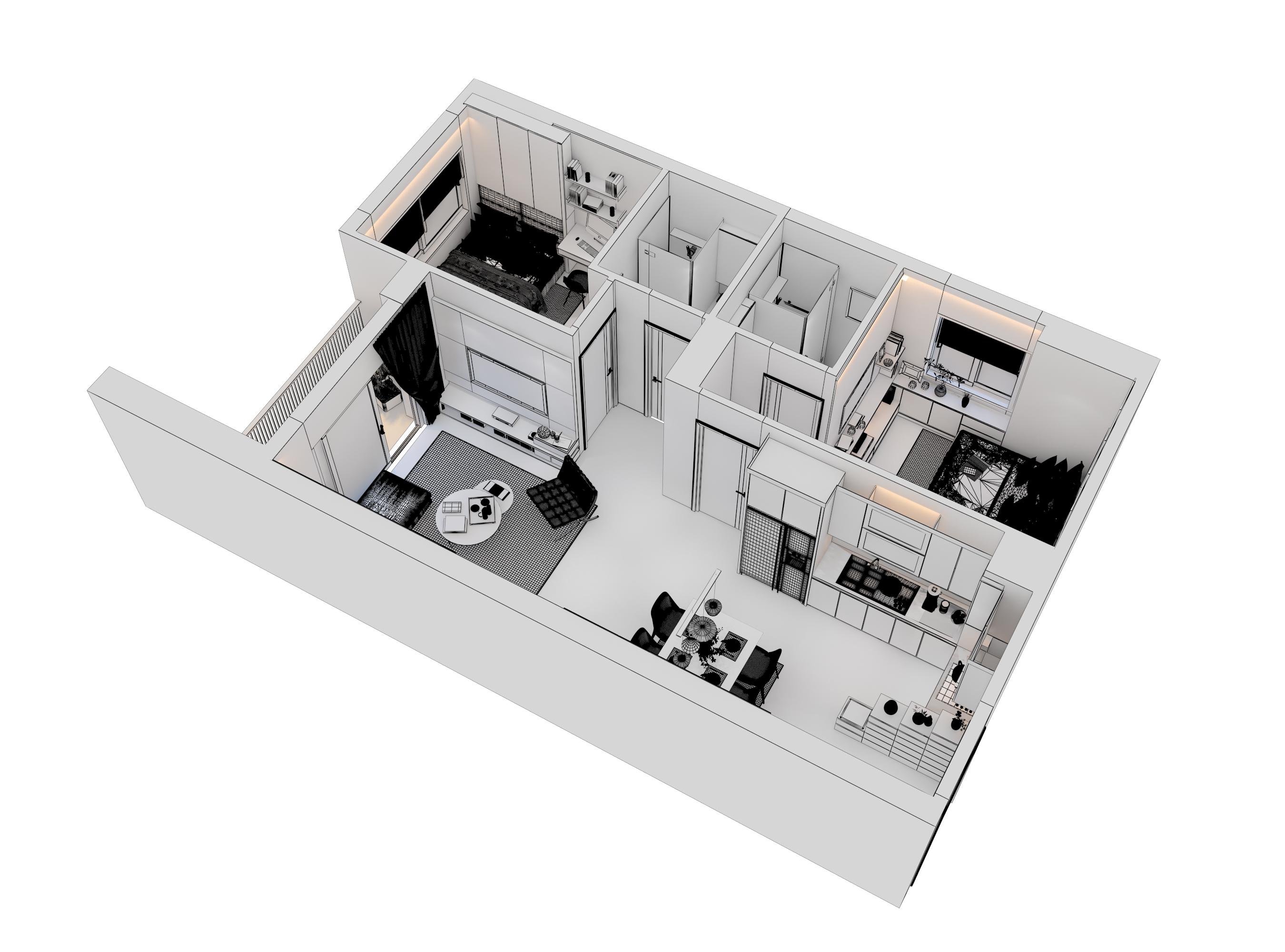 cutaway apartment full furnitures modern design 3d model max 279966