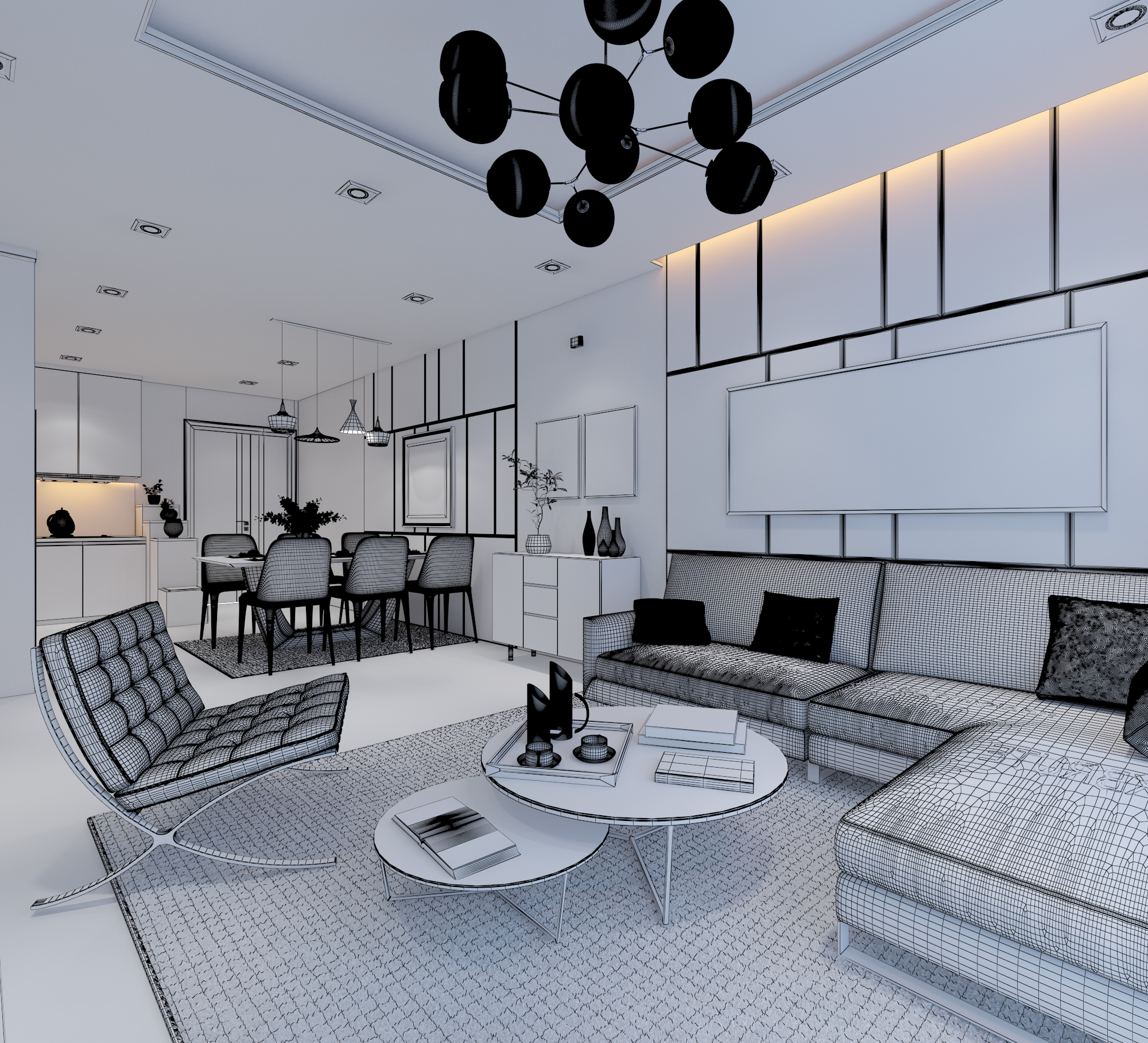 cutaway apartment full furnitures modern design 3d model max 279967