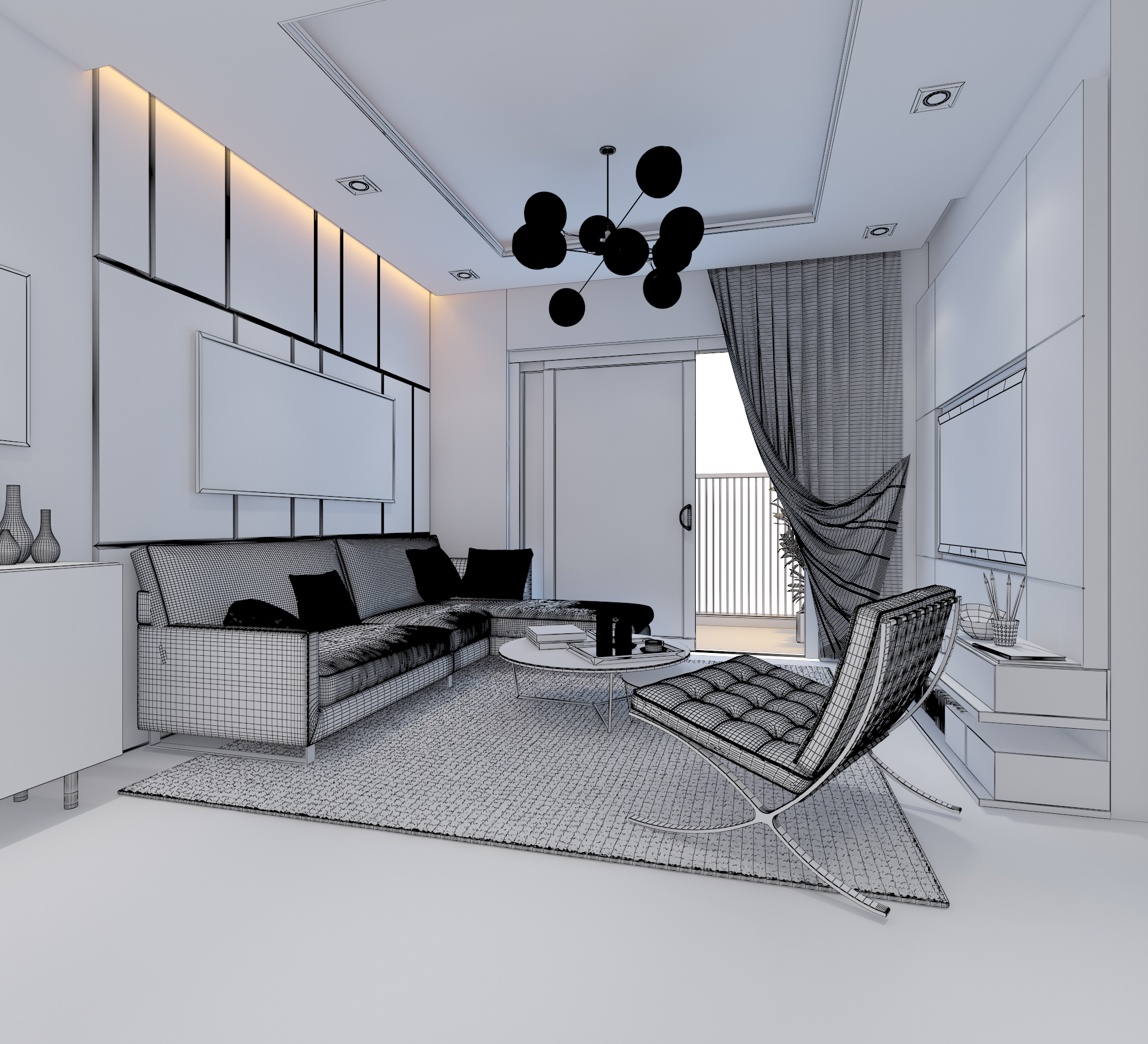 cutaway apartment full furnitures modern design 3d model max 279968