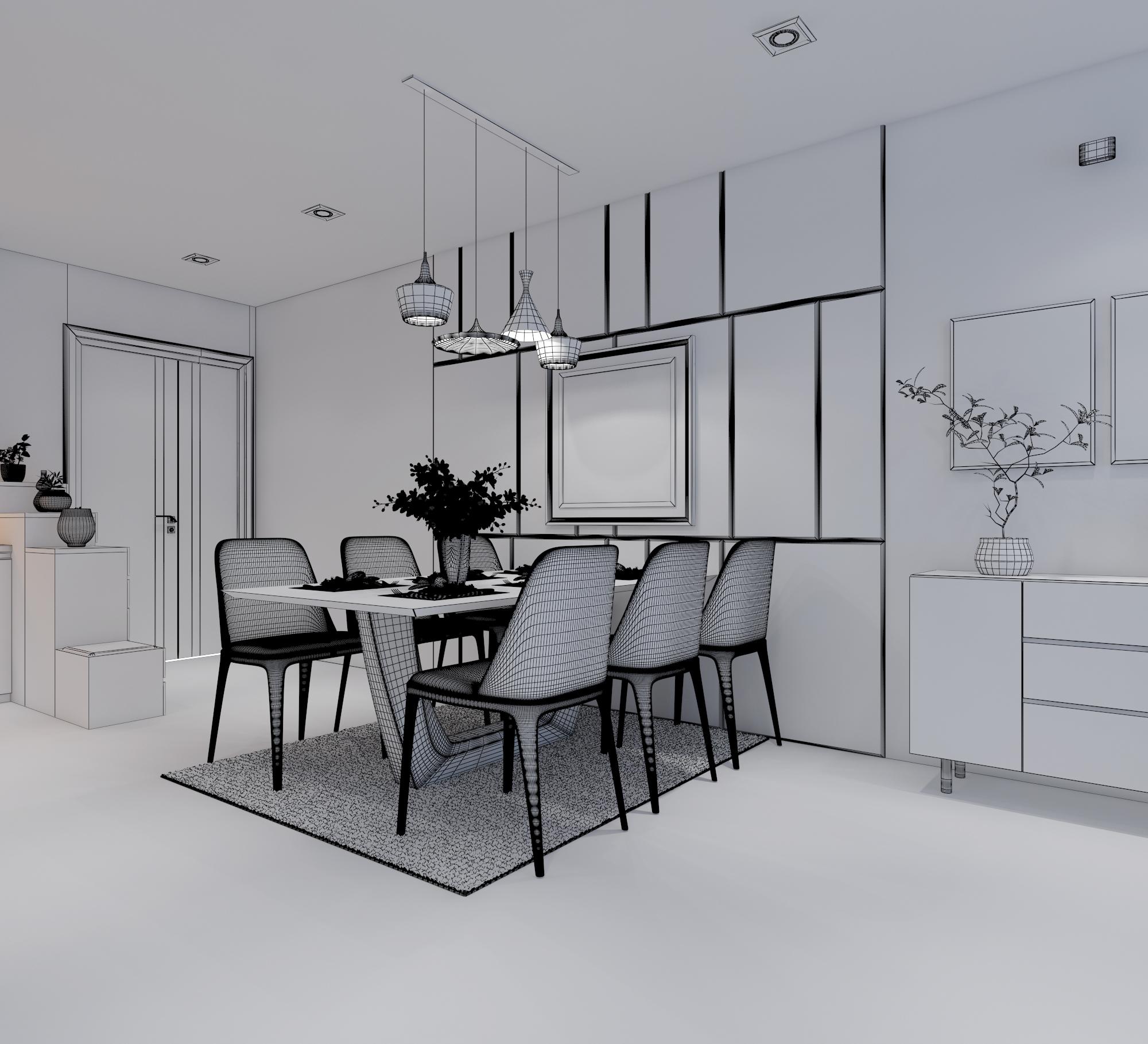 cutaway apartment full furnitures modern design 3d model max 279969