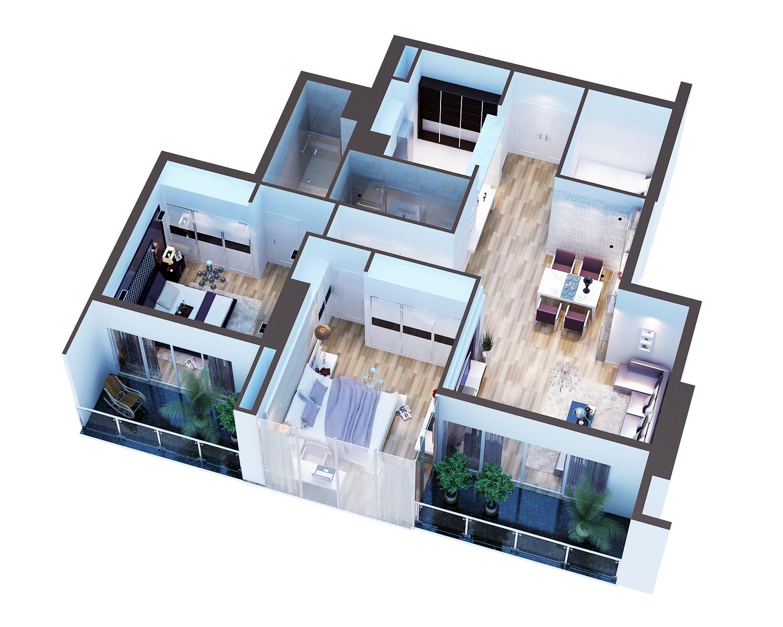 3D Model Detailed modern interior cutaway 3d model  279976