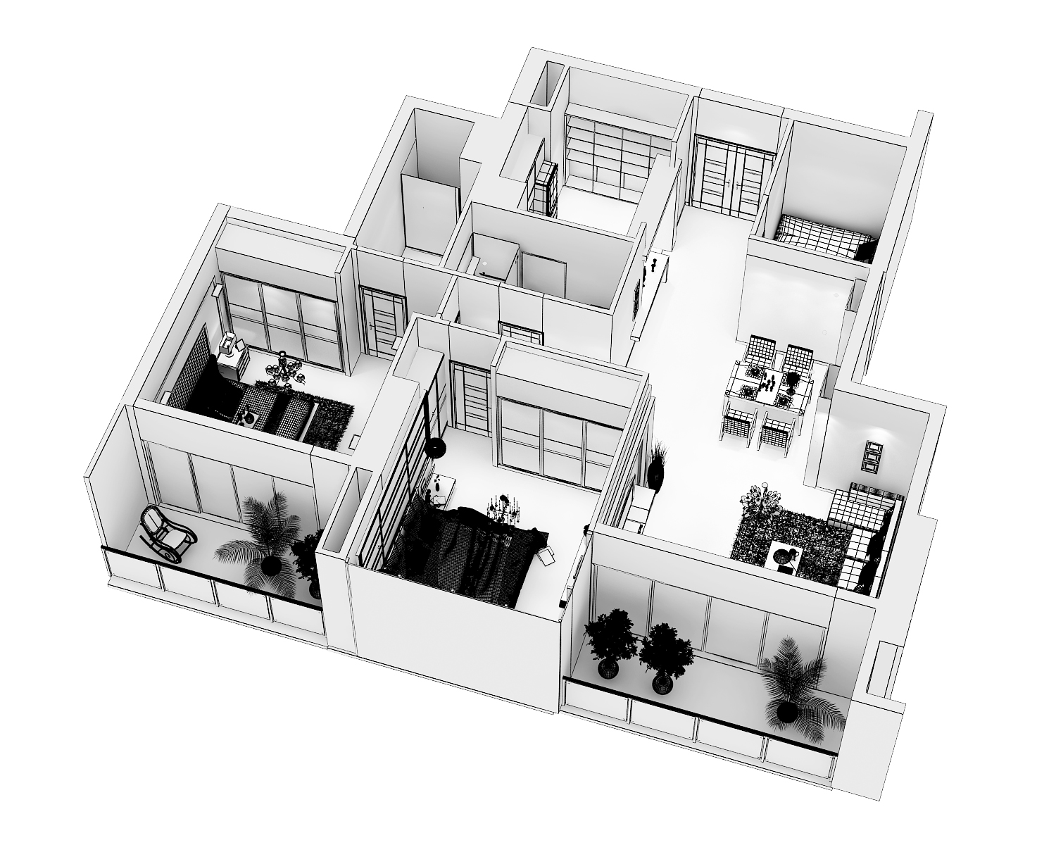 detailed modern interior cutaway 3d model max dwg 279987
