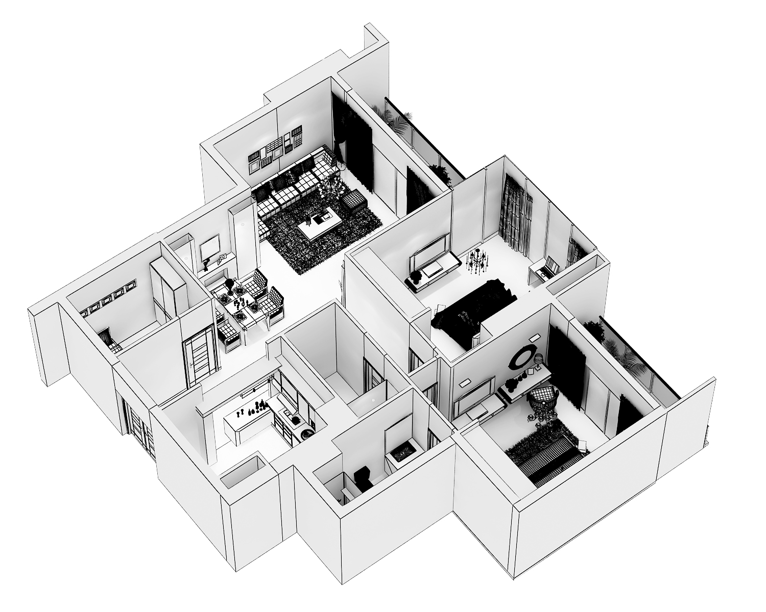 detailed modern interior cutaway 3d model max dwg 279988
