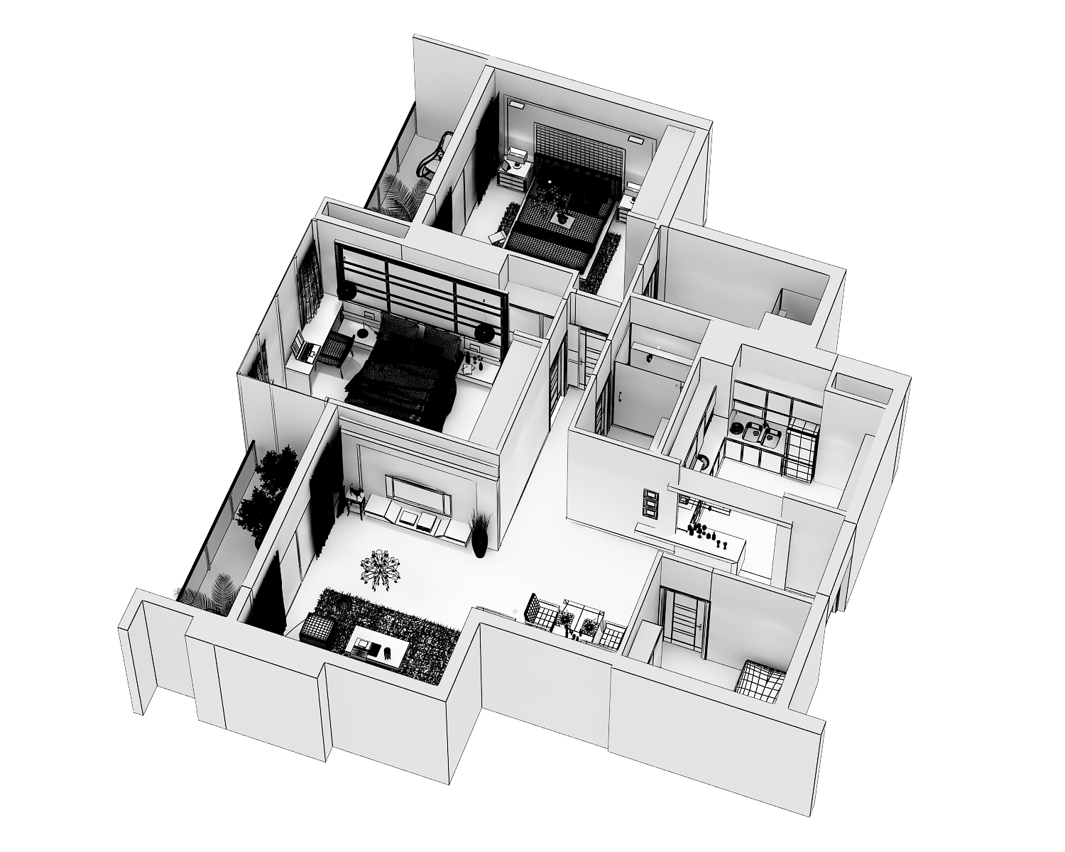 detailed modern interior cutaway 3d model max dwg 279990