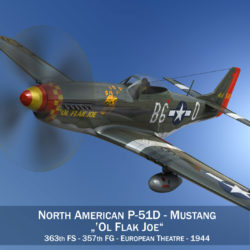 North American P-51D - Ol Flak Joe 3d model high poly virtual reality 3ds fbx c4d lwo lws lw obj