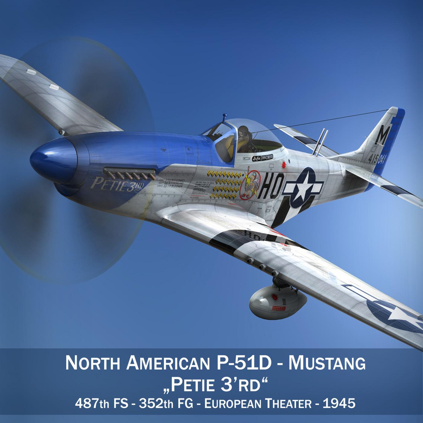 north american p-51d mustang – petie 3rd 3d model fbx c4d lwo obj 280127