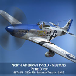 North American P-51D Mustang - Petie 3rd 3d model high poly virtual reality fbx c4d lwo lws lw obj