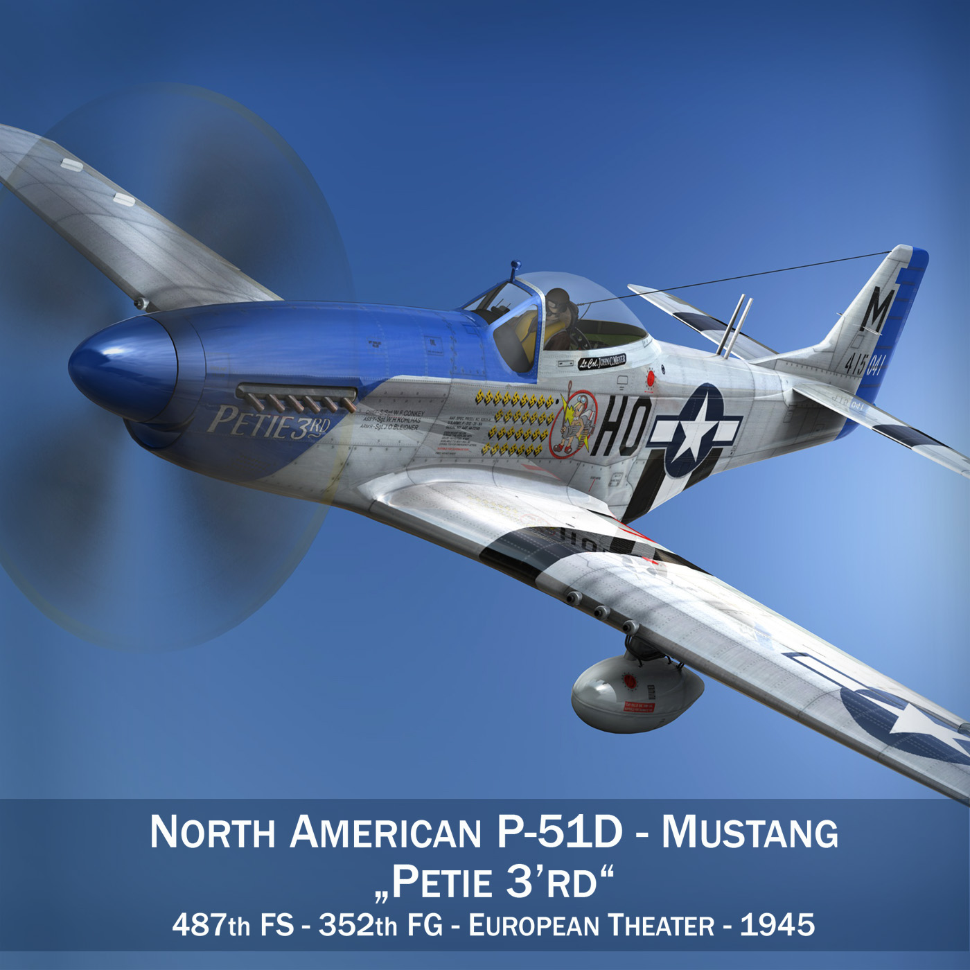 North American P-51D Mustang - Petie 3rd 3d model fbx c4d lwo lws lw obj 280127