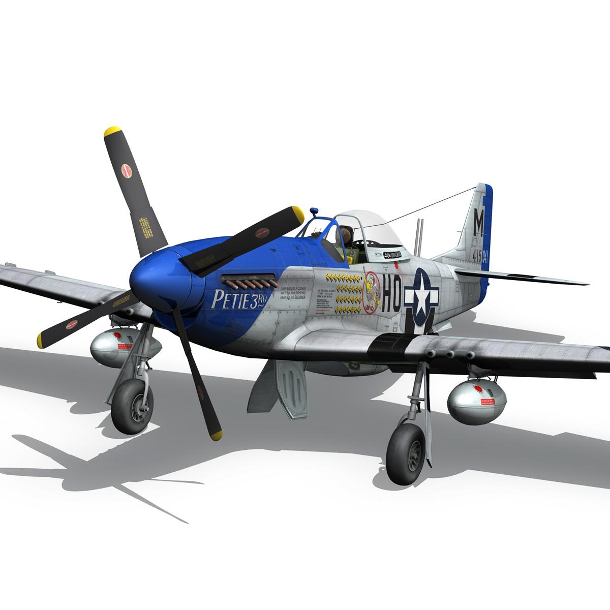 north american p-51d mustang – petie 3rd 3d model fbx c4d lwo obj 280135