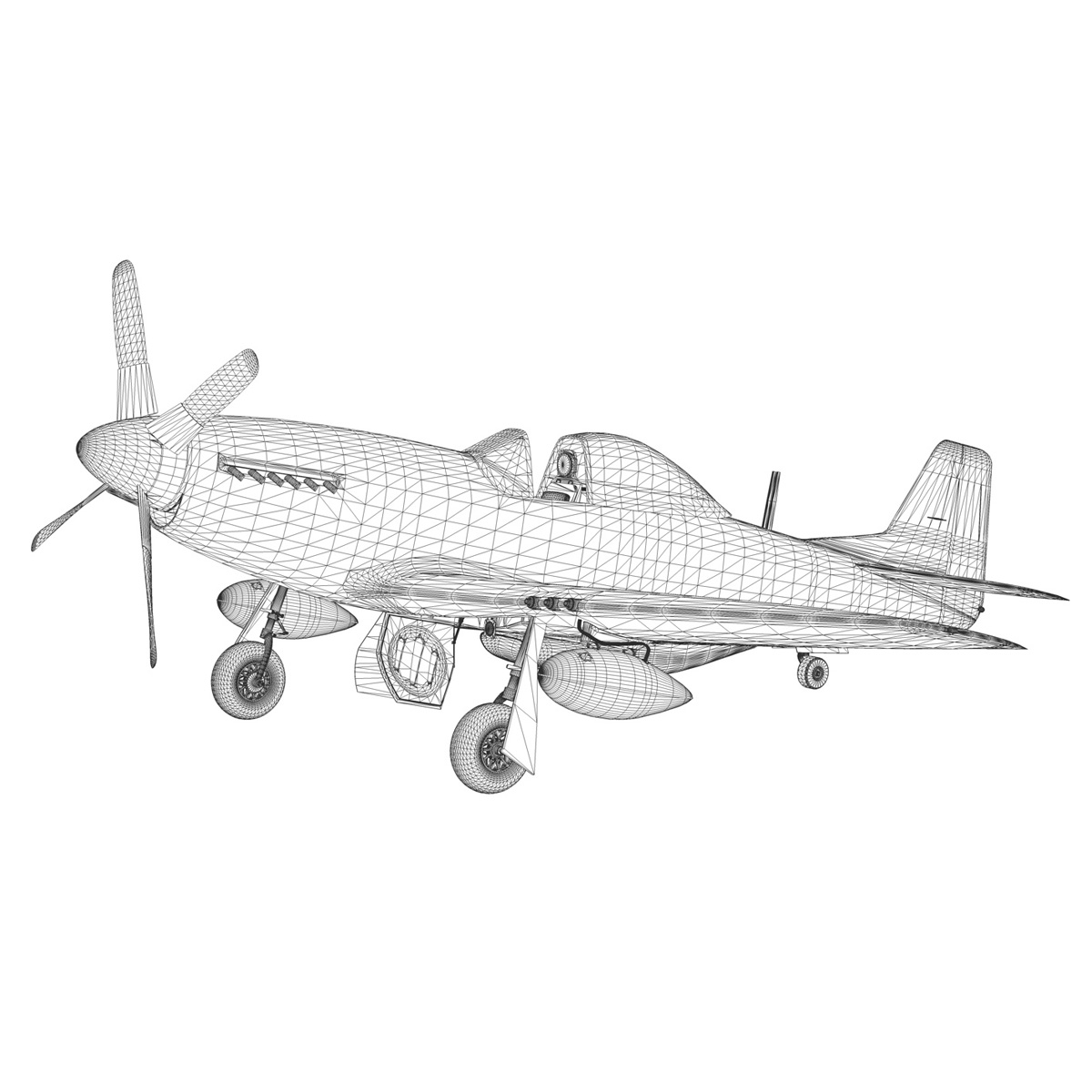 north american p-51d mustang – petie 3rd 3d model fbx c4d lwo obj 280146