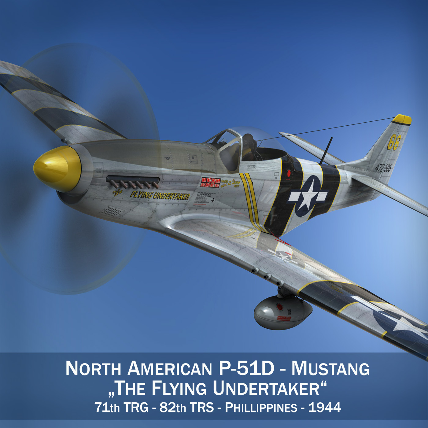 north american p-51d mustang – flying undertaker 3d model fbx c4d lwo obj 280155