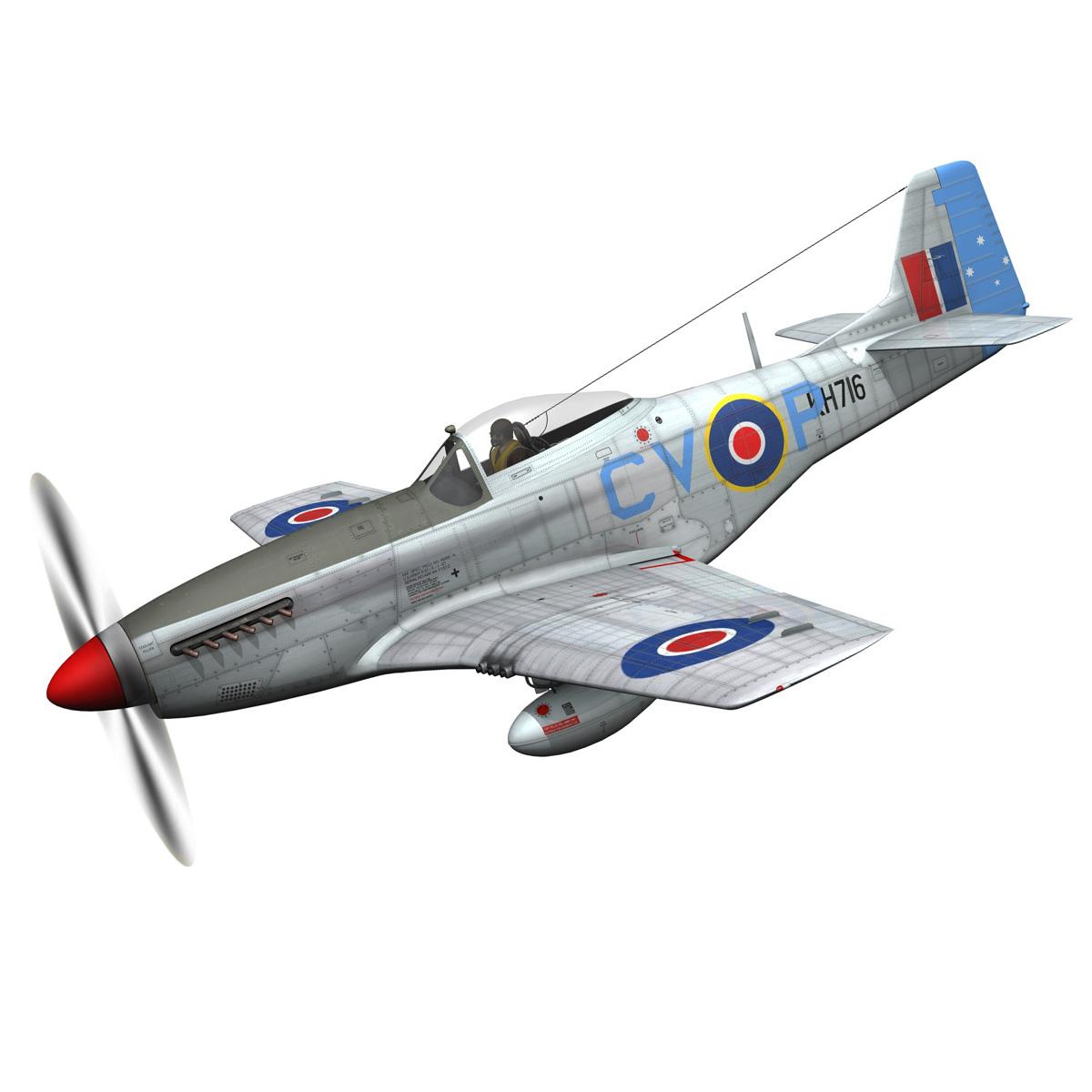 north american p-51k mustang mk.iv – raaf 3d model fbx c4d lwo obj 280272