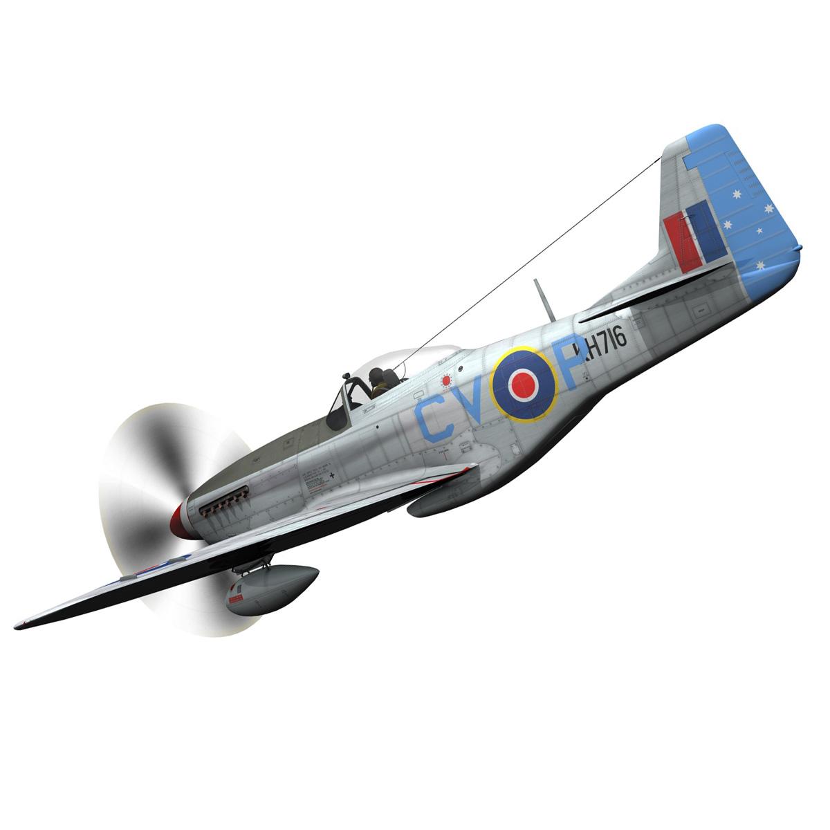 north american p-51k mustang mk.iv – raaf 3d model fbx c4d lwo obj 280274