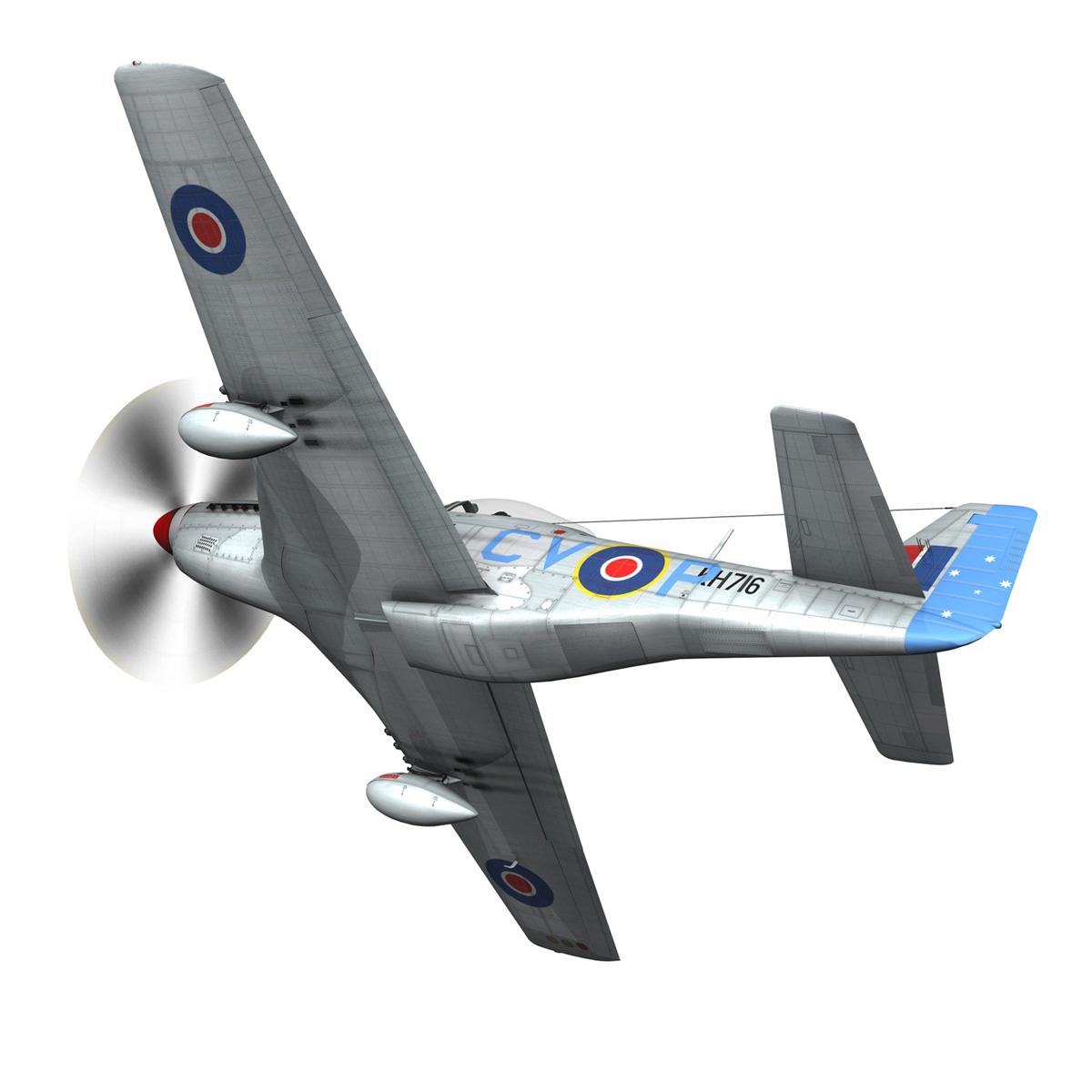 north american p-51k mustang mk.iv – raaf 3d model fbx c4d lwo obj 280275
