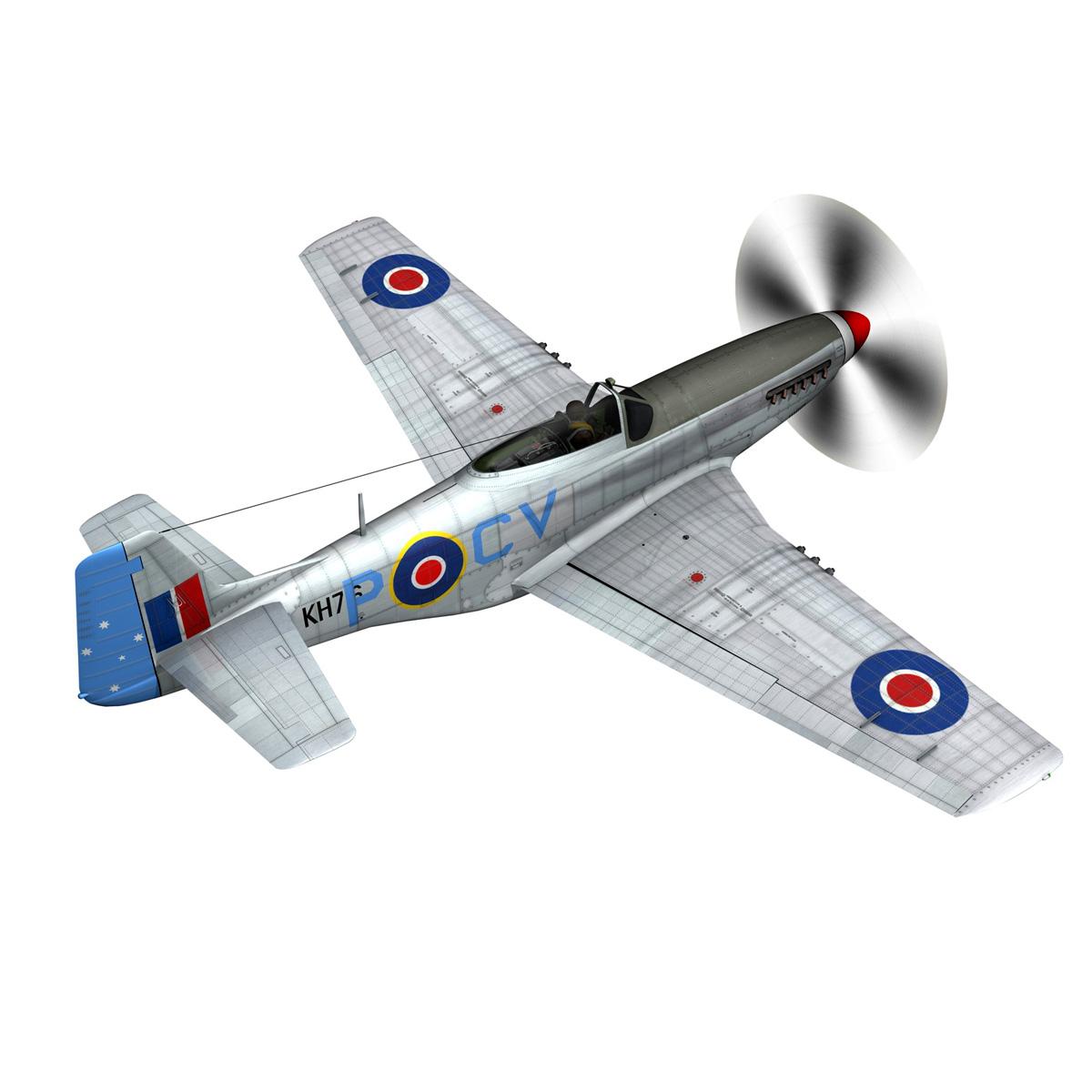 north american p-51k mustang mk.iv – raaf 3d model fbx c4d lwo obj 280276