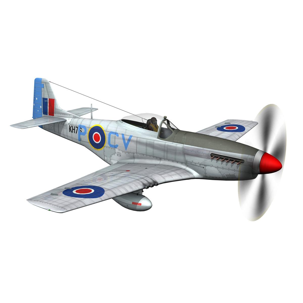 north american p-51k mustang mk.iv – raaf 3d model fbx c4d lwo obj 280277