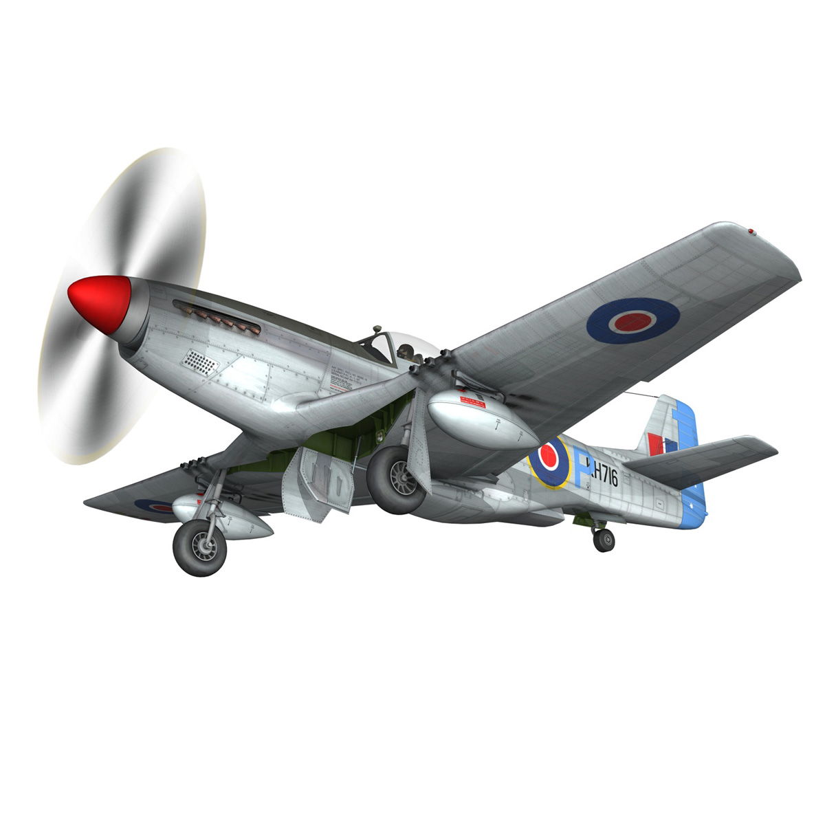 north american p-51k mustang mk.iv – raaf 3d model fbx c4d lwo obj 280279