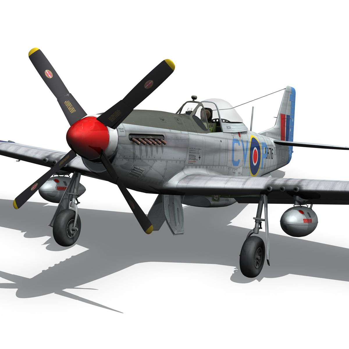 north american p-51k mustang mk.iv – raaf 3d model fbx c4d lwo obj 280280