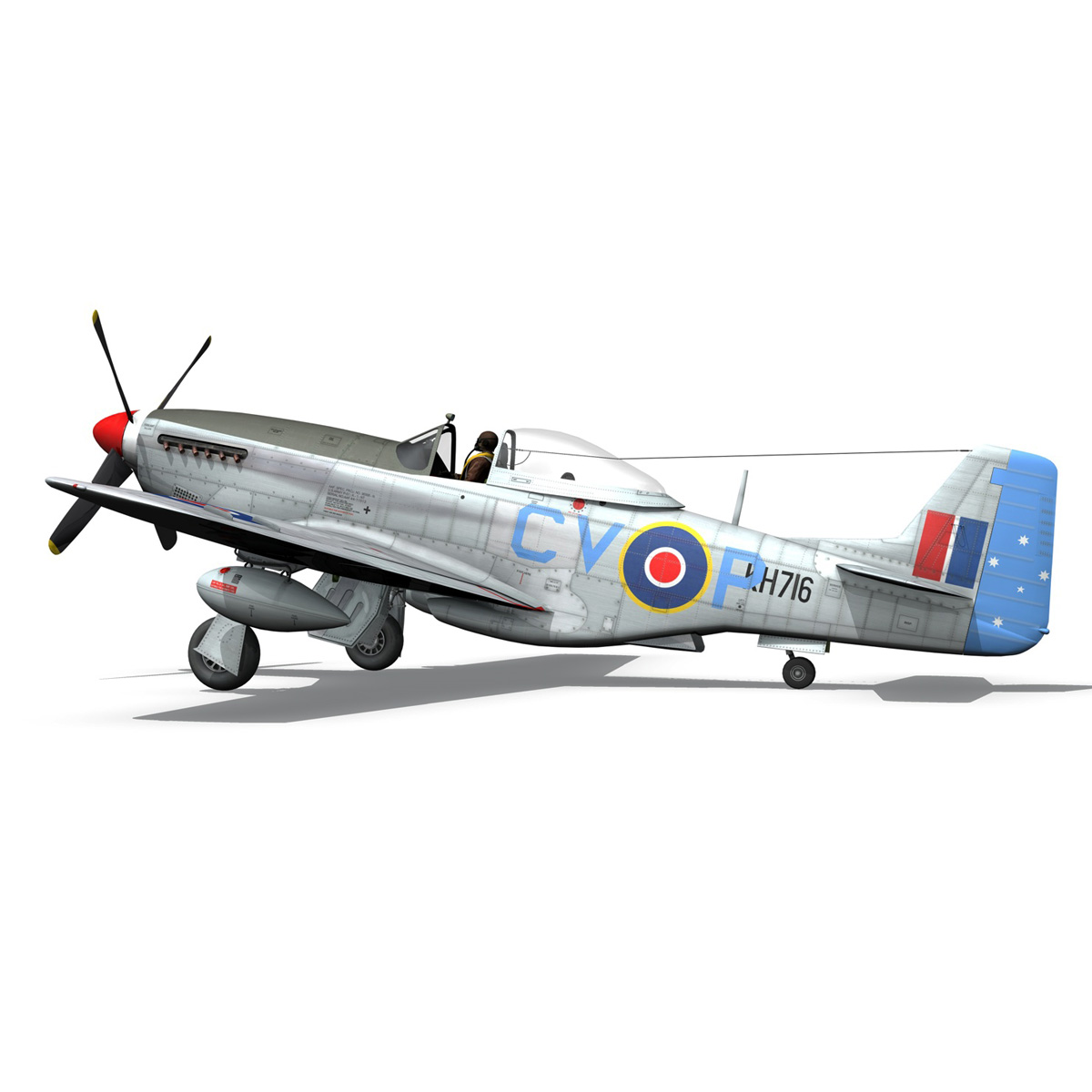 north american p-51k mustang mk.iv – raaf 3d model fbx c4d lwo obj 280282