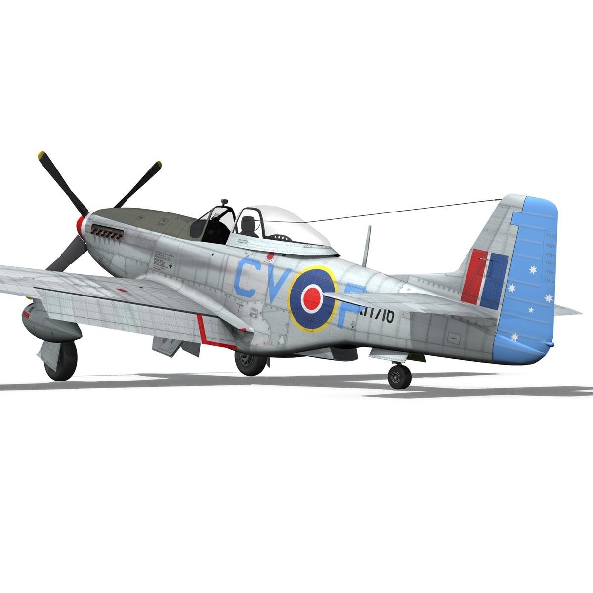 north american p-51k mustang mk.iv – raaf 3d model fbx c4d lwo obj 280283
