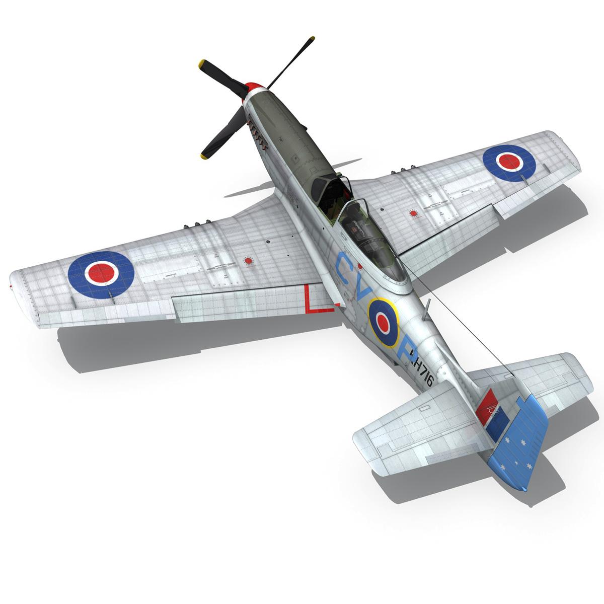 north american p-51k mustang mk.iv – raaf 3d model fbx c4d lwo obj 280284