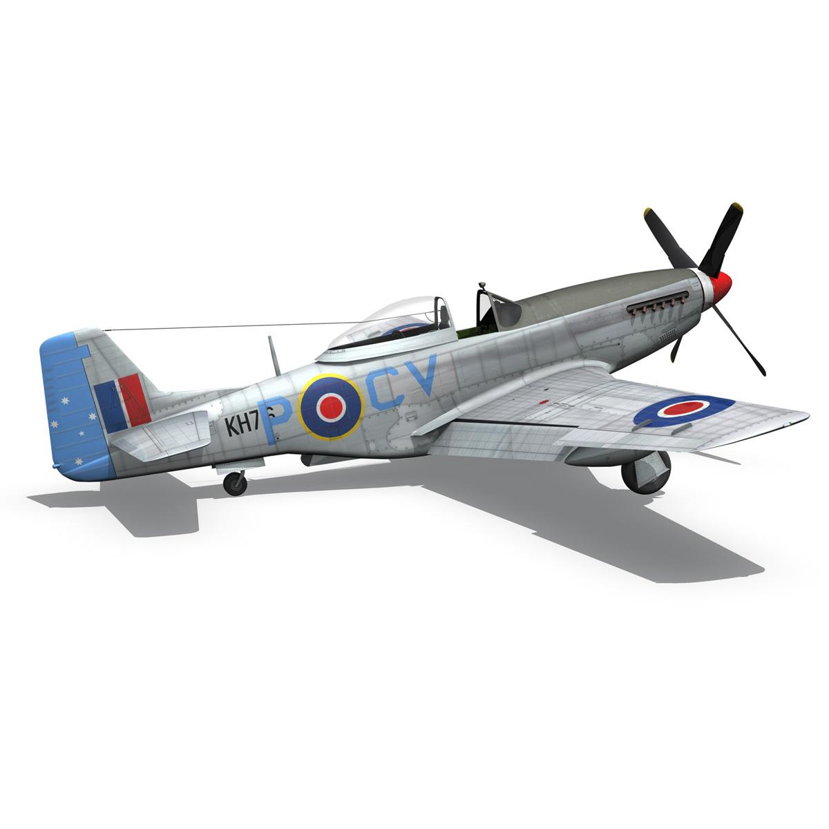 north american p-51k mustang mk.iv – raaf 3d model fbx c4d lwo obj 280285