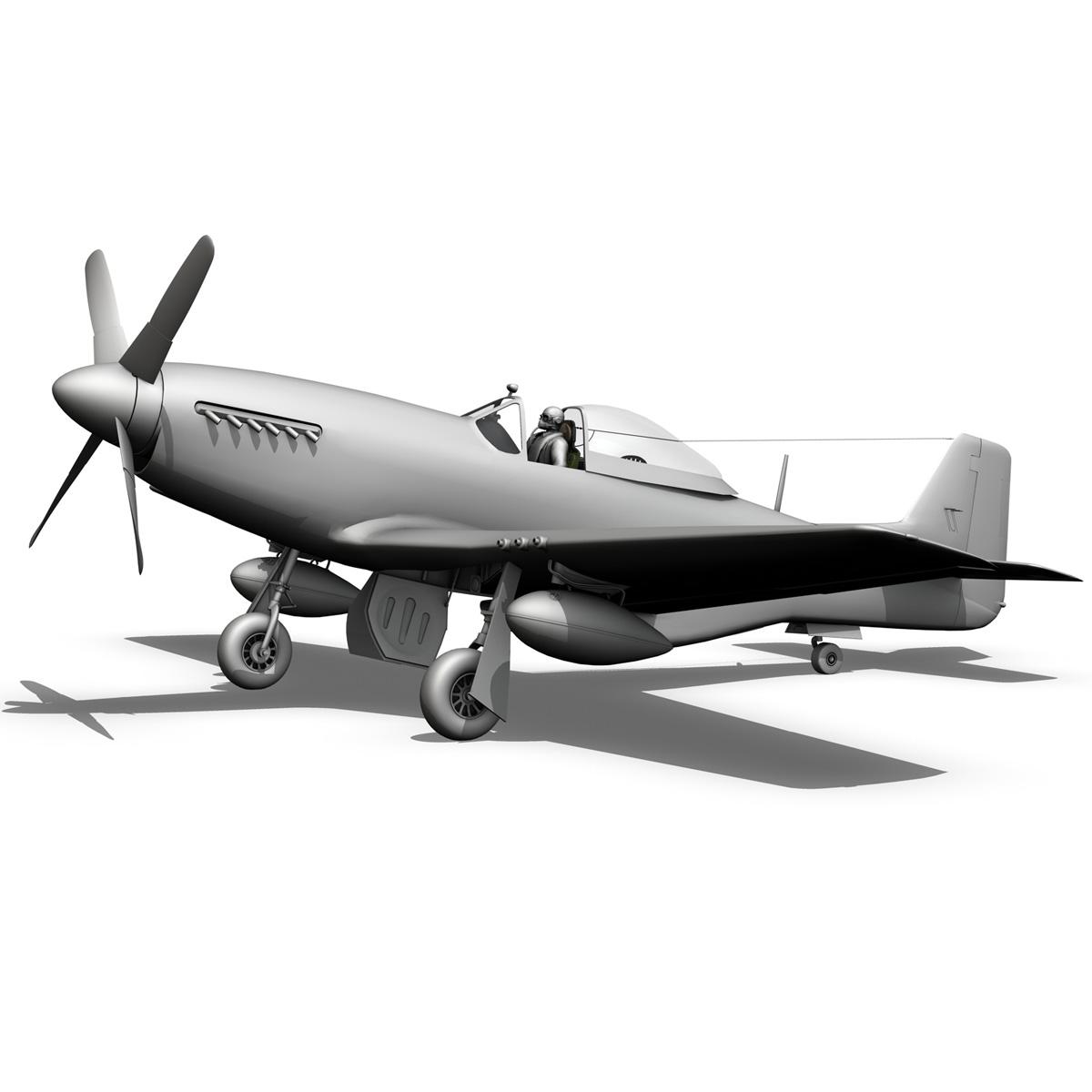 north american p-51k mustang mk.iv – raaf 3d model fbx c4d lwo obj 280289