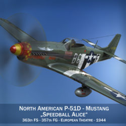 North American P-51D Mustang - Speedball Alice 3d model high poly virtual reality fbx c4d lwo lws lw obj