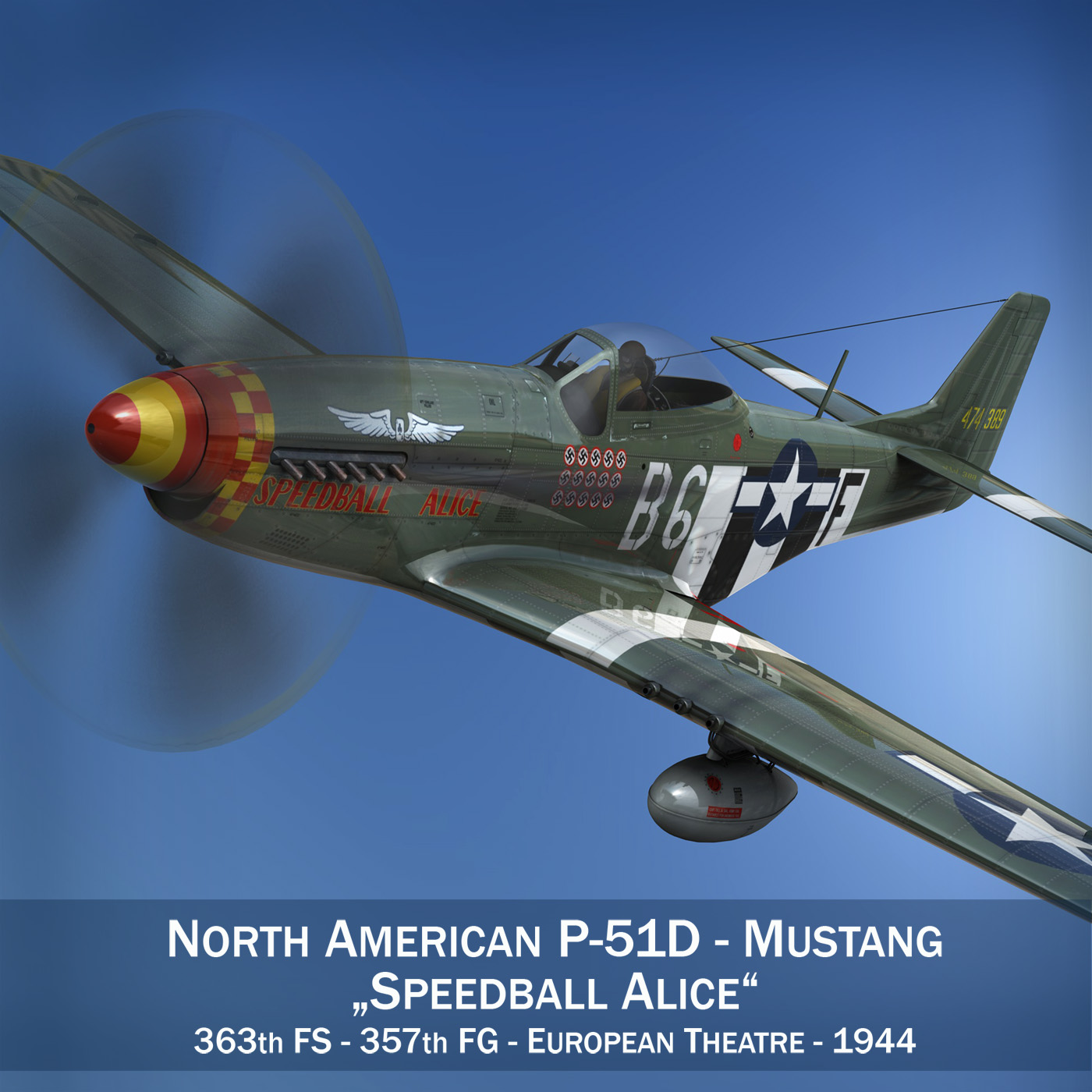 north american p-51d mustang – speedball alice 3d model fbx c4d lwo obj 280309