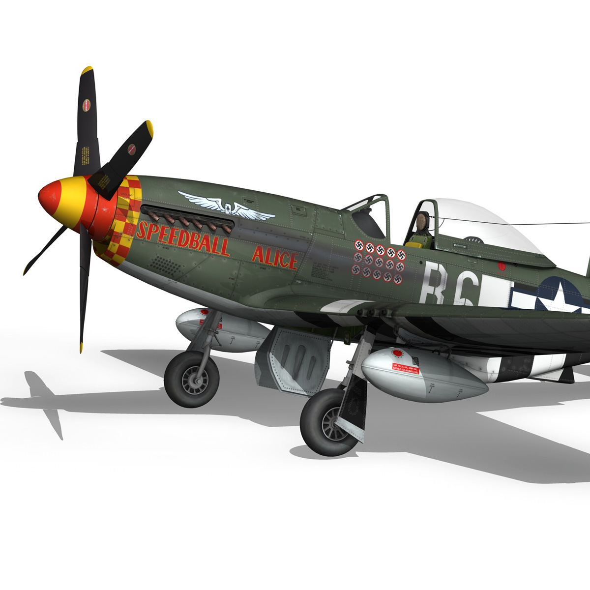 north american p-51d mustang – speedball alice 3d model fbx c4d lwo obj 280310