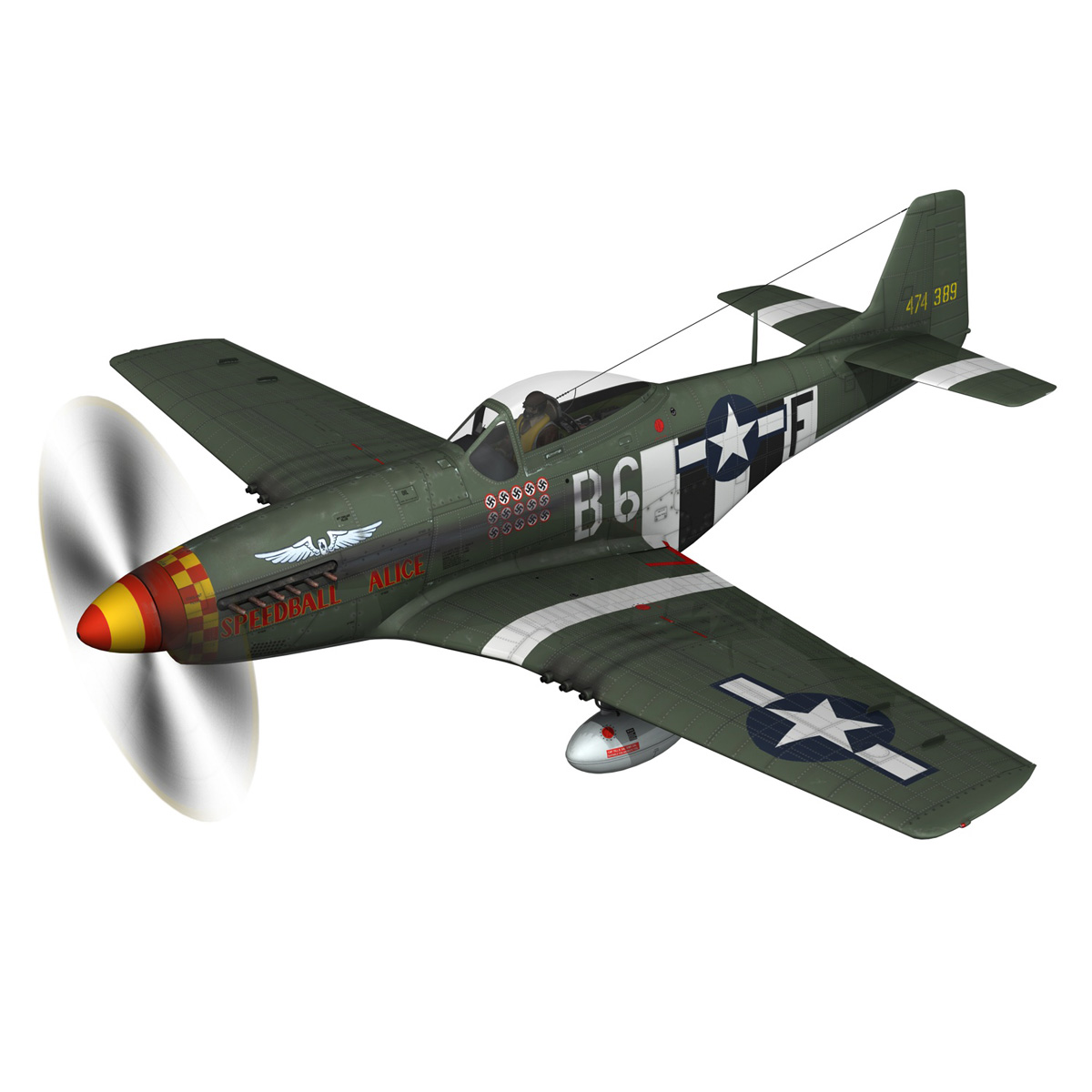 north american p-51d mustang – speedball alice 3d model fbx c4d lwo obj 280311