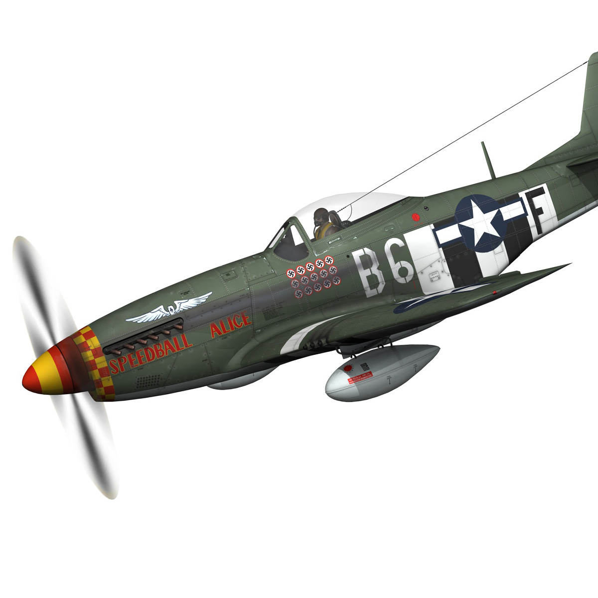 north american p-51d mustang – speedball alice 3d model fbx c4d lwo obj 280312